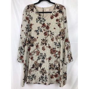 Altar'd State floral boho dress with gold accents